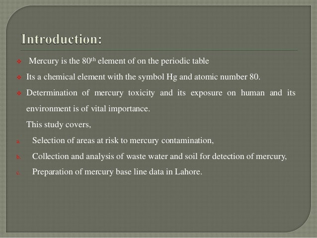 why is the element mercury important