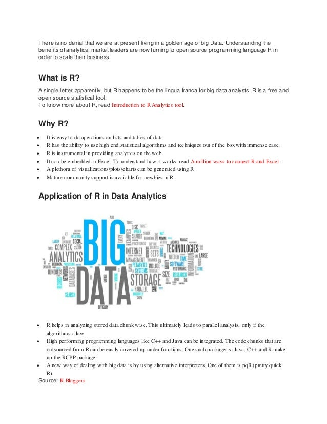 There is no denial that we are at present living in a golden age of big Data. Understanding the benefits of analytics, mar...