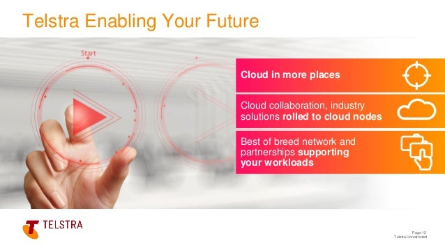 Telstra Unrestricted Cloud in more places Page 12 Telstra Enabling Your Future Cloud collaboration, industry solutions rol...