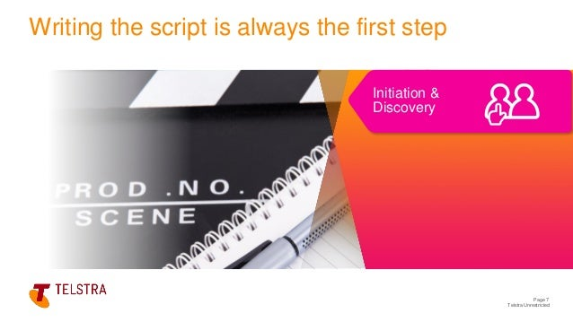 Telstra Unrestricted Page 7 Writing the script is always the first step Initiation & Discovery
