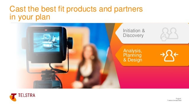 Telstra Unrestricted Page 8 Initiation & Discovery Analysis, Planning & Design Cast the best fit products and partners in ...