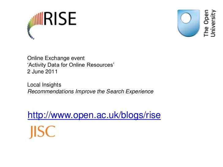 Online Exchange event 'Activity Data for Online Resources'2 June 2011Local Insights Recommendations Improve the Search Exp...