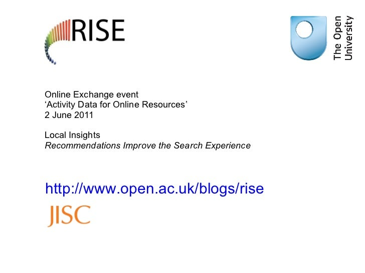 Online Exchange event  'Activity Data for Online Resources' 2 June 2011 Local Insights  Recommendations Improve the Search...