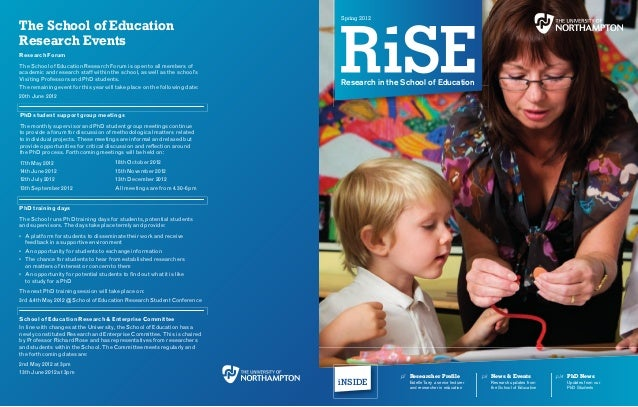 spring 2012The School of EducationResearch EventsResearch ForumThe School of Education Research Forum is open to all membe...
