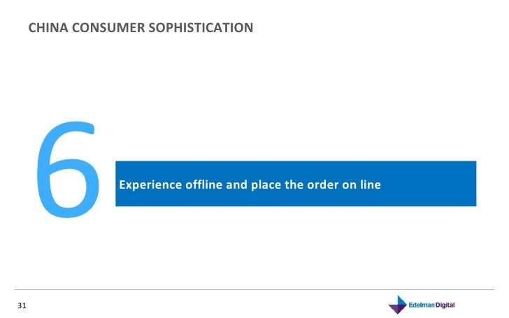 CHINA CONSUMER SOPHISTICATION  Experience offline and place the order on line 6