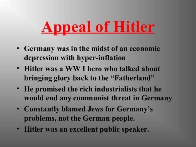 the rise to power of adolf hitler in germany Hitler's rise to power and the downfall of the weimar republic  he is not  discussing a war in which germans were enemies or describing.