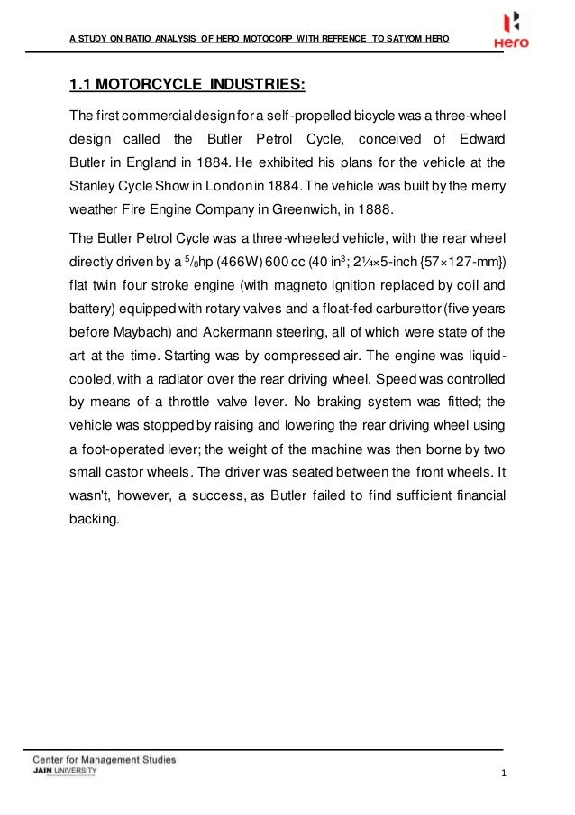 ratio analysis of hero motocorp 2017-18