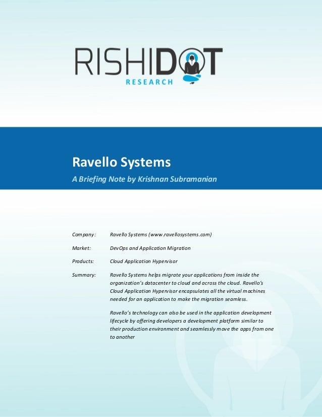 Ravello Systems               A Briefing Note By Krishnan Subramanian                                Rav...