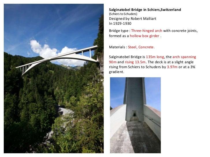 Salginatobel Bridge in Schiers,Switzerland(Schiers to Schuders)Designed by Robert MalliartIn 1929-1930Bridge type : Three-...
