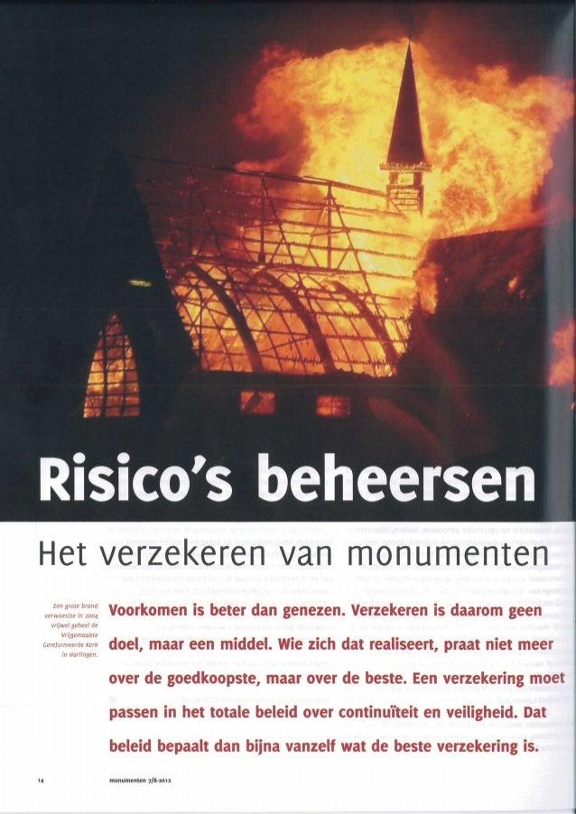 Risicos beheersen artikel tijdschrift monumenten 7 8 2012