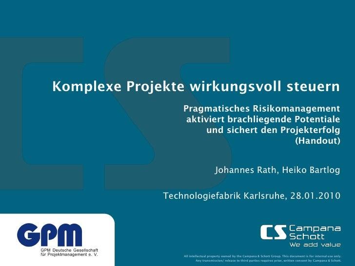 Komplexe Projekte wirkungsvoll steuern                   Pragmatisches Risikomanagement                    aktiviert brach...