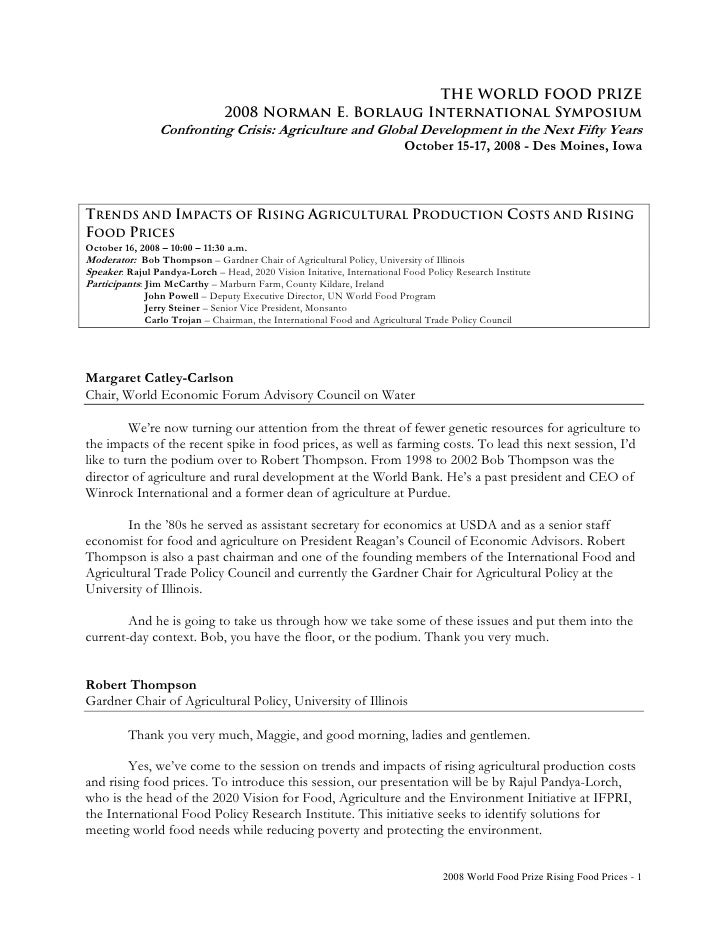 THE WORLD FOOD PRIZE                                 2008 Norman E. Borlaug International Symposium                  Confr...
