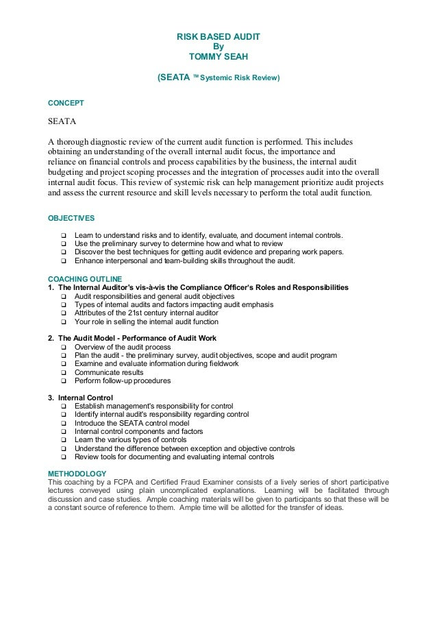 RISK BASED AUDIT By TOMMY SEAH (SEATA TM Systemic Risk Review) CONCEPT SEATA A thorough diagnostic review of the current a...