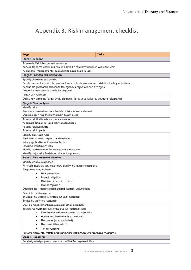 Project Risk Management Guideline - Victorian Department of Treasury