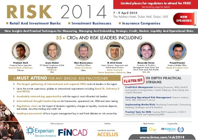 RISK 2014   Retail And Investment Banks  Limited places for regulators to attend for FREE! See booking page for details  ...