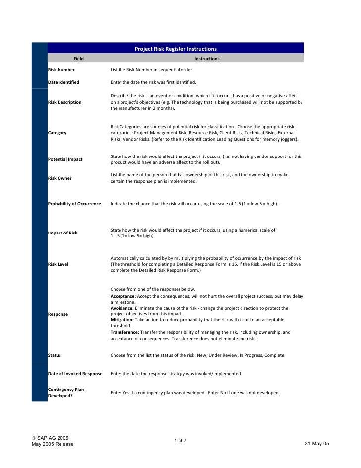 Project Risk Register Instructions                    Field                                                      Instructi...