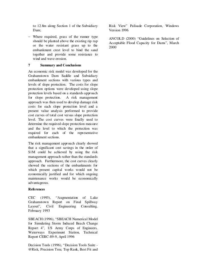 Risk and standards based riprap design for grahamstown dam