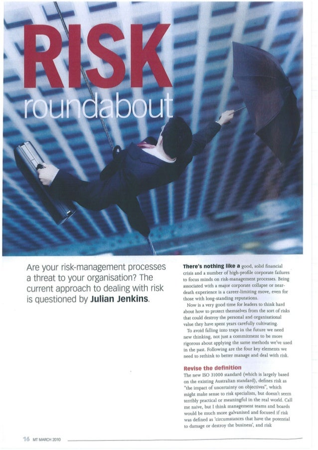 Risk article, management today, mar 2010