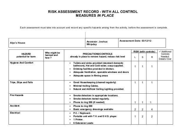 housekeeping risk assessment