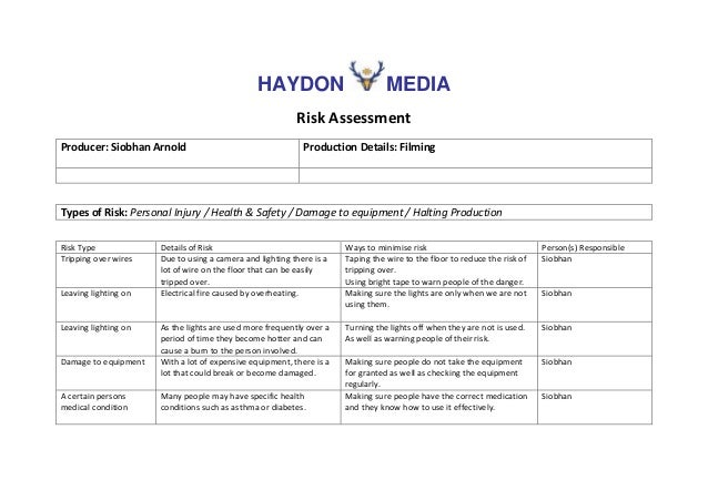 HAYDON MEDIA Risk Assessment Producer: Siobhan Arnold Production Details: Filming Types of Risk: Personal Injury / Health ...