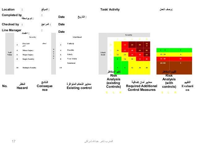RISK ASSESSMENT FORM  Location  :  : الموقع  Completed by : تم بواسطة  :  Checked by :  : المراجع  Line Manager  :  ...