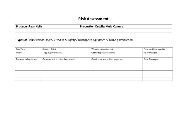 Risk Assessment Producer:Ryan Kelly Production Details: Multi Camera Types of Risk: Personal Injury / Health & Safety / Da...