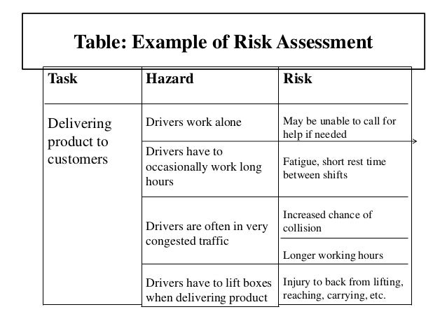 Risk Assessment Example  CityEsporaCo