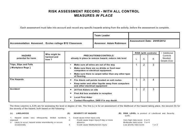risk assessment classroom