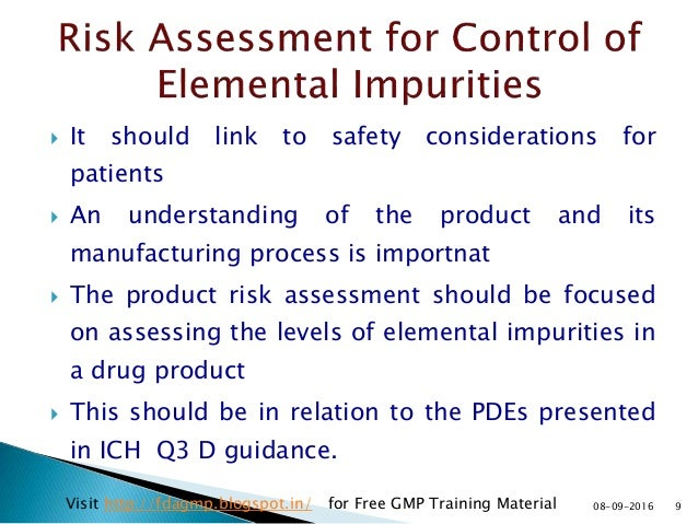 Risk Assessment for Control of Elemental Impurities – Product Risk Assessment