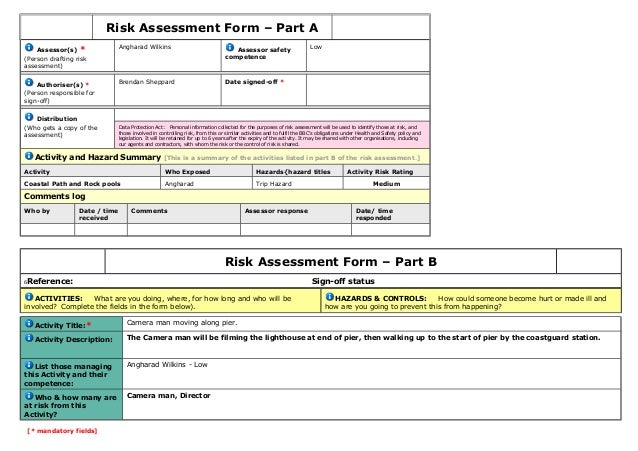 Risk assessment form draft 1 for Data center risk assessment template