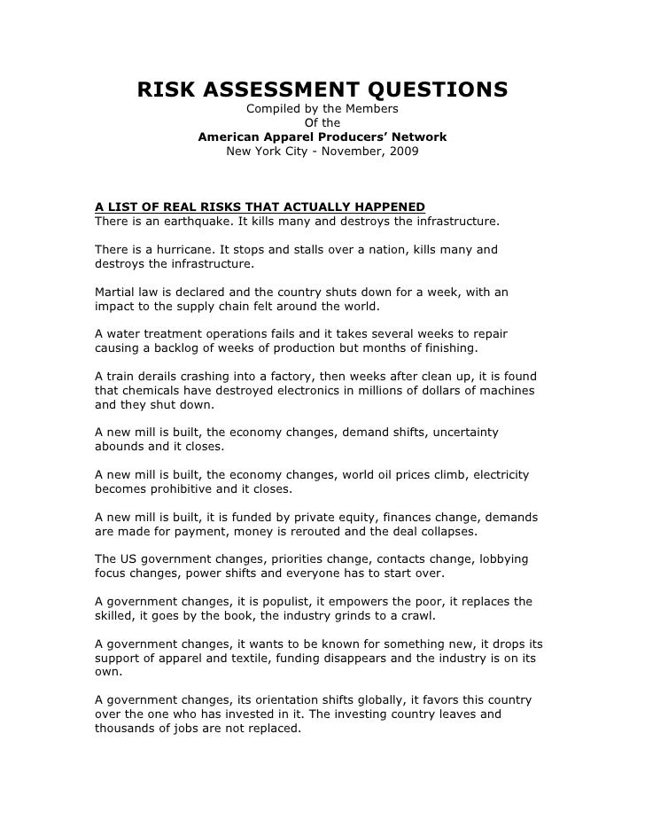 RISK ASSESSMENT QUESTIONS                         Compiled by the Members                                  Of the         ...