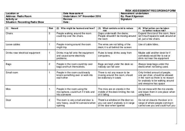 Risk assessment radio room for Gardening risk assessment