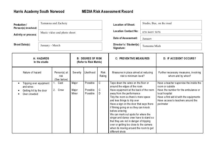 Risk assessment template for It risk analysis template