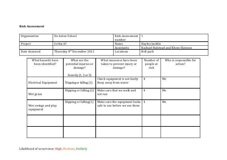 assessment template media – Risk Analysis Template