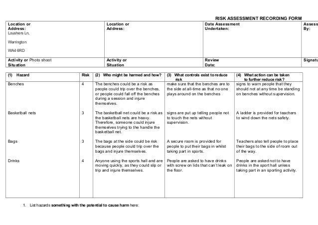 sample sports risk assessment form sample forms. oroma jackson ...