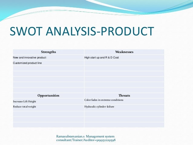 SWOT ANALYSIS-PRODUCT Strengths Weaknesses New and innovative product High start up and R & D Cost Customized product line...
