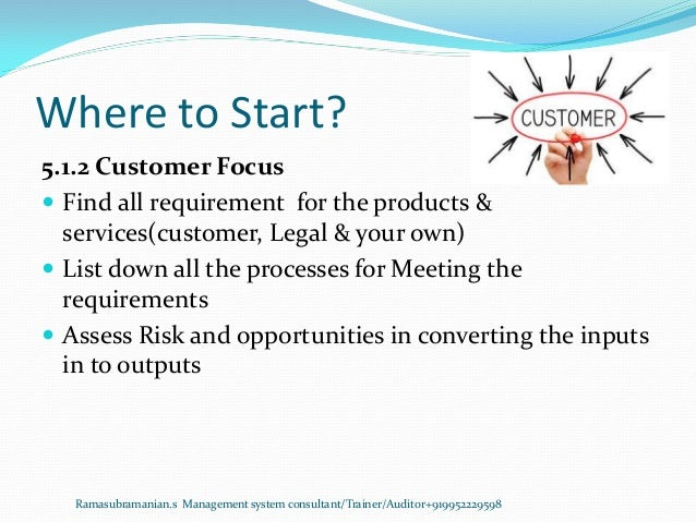 Where to Start? Ramasubramanian.s Management system consultant/Trainer/Auditor+919952229598 5.1.2 Customer Focus  Find al...