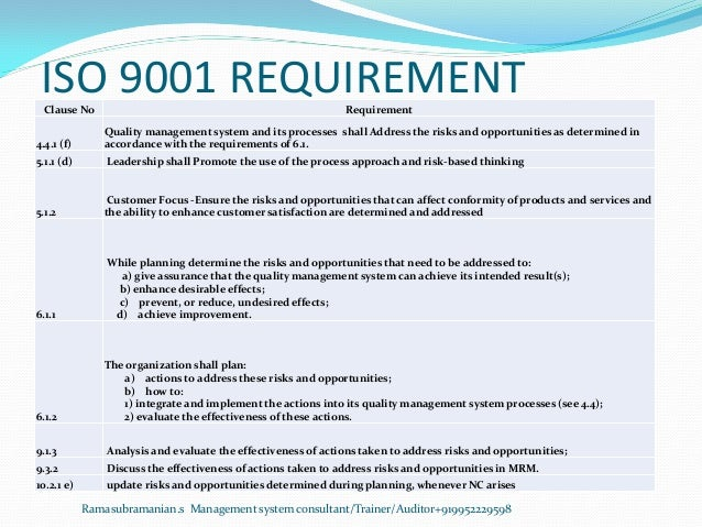 ISO 9001 REQUIREMENTClause No Requirement 4.4.1 (f) Quality management system and its processes shall Address the risks an...