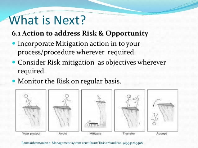 What is Next? Ramasubramanian.s Management system consultant/Trainer/Auditor+919952229598 6.1 Action to address Risk & Opp...