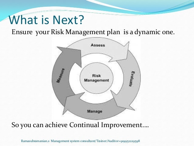 What is Next? Ramasubramanian.s Management system consultant/Trainer/Auditor+919952229598 Ensure your Risk Management plan...