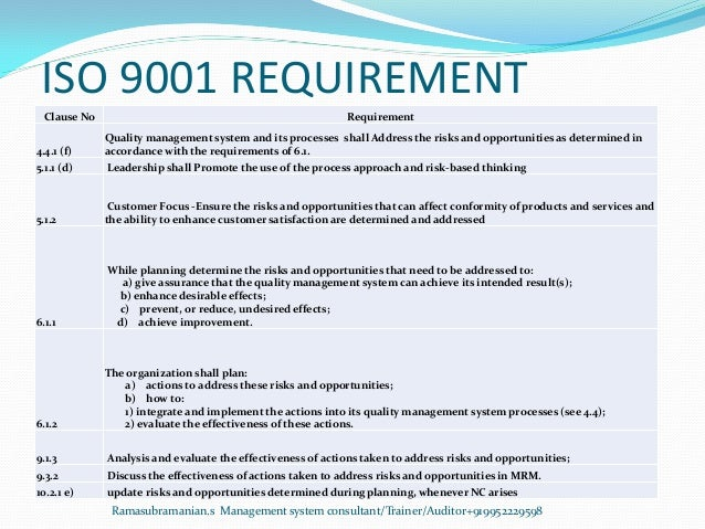ISO 9001 REQUIREMENT Clause No Requirement 4.4.1 (f) Quality management system and its processes shall Address the risks a...