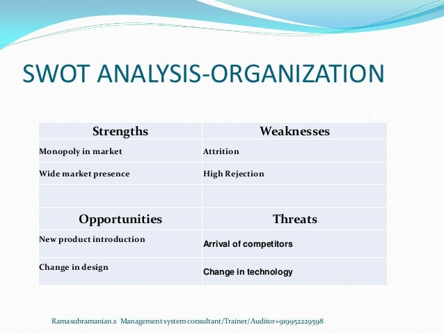 SWOT ANALYSIS-ORGANIZATION Strengths Weaknesses Monopoly in market Attrition Wide market presence High Rejection Opportuni...