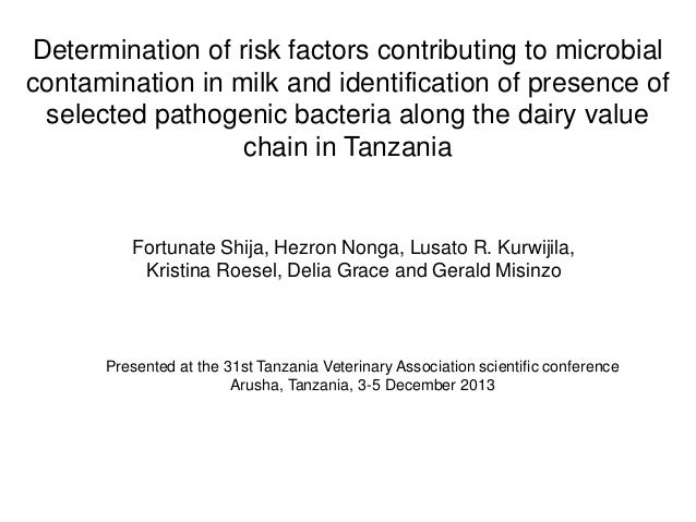 Determination of risk factors contributing to microbial contamination in milk and identification of presence of selected p...