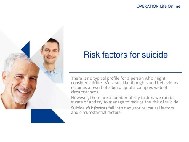 OPERATION Life OnlineRisk factors for suicideThere is no typical profile for a person who mightconsider suicide. Most suic...
