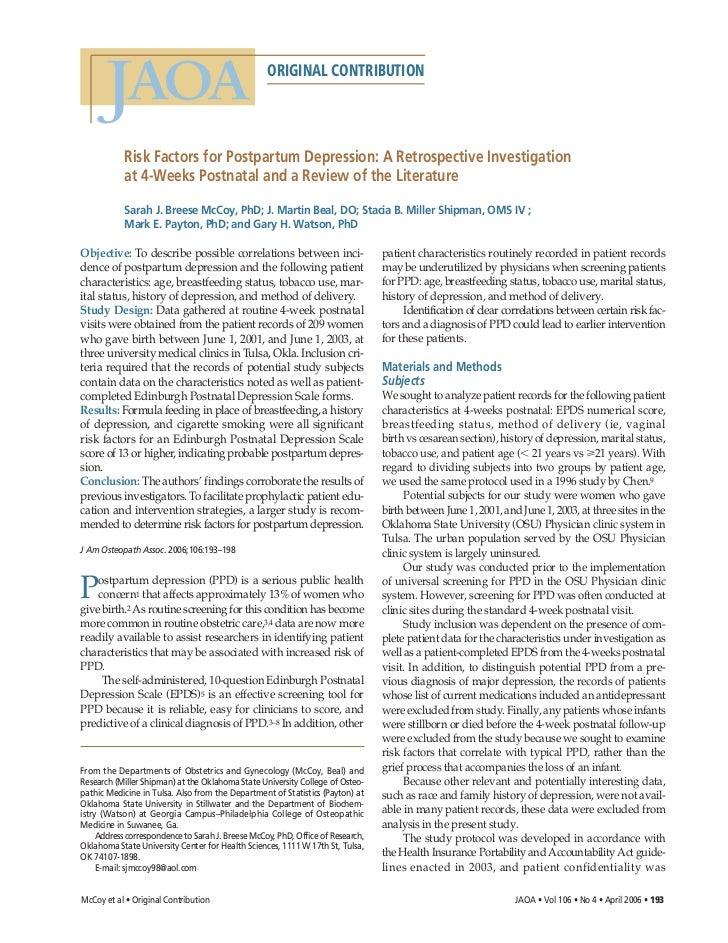 ORIGINAL CONTRIBUTION           Risk Factors for Postpartum Depression: A Retrospective Investigation           at 4-Weeks...