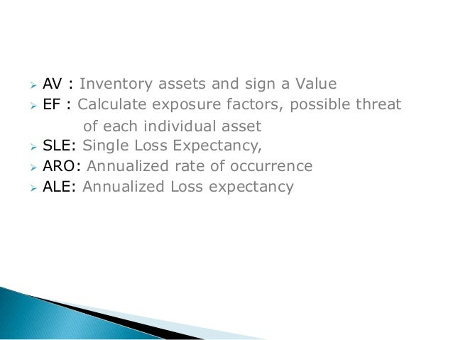 calculate sle aro and ale Ale is then calculated by multiplying sle by annualized rate of occurrence (aro) -- ale = sle  aro for example, to calculate the exposure factor, assume the asset value of a small office building and its contents is $2 million.