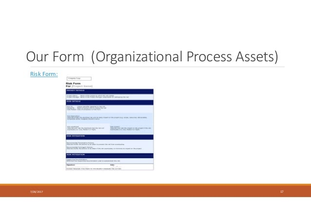 Our Form (Organizational Process Assets) 7/28/2017 17 Risk Form: