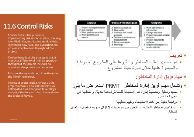 11.6 Control Risks • Control Risks is the process of implementing risk response plans, tracking identified risks, monitori...