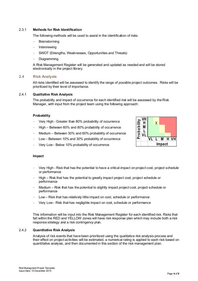 Risk Managment Project Template Issue Date: 15 December 2016 Page 4 of 9 2.3.1 Methods for Risk Identification The followi...