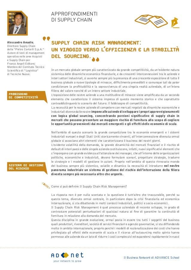 approfondimenti                                  di supply chainAlessandro Amadio,Direttore Supply Chain                  ...